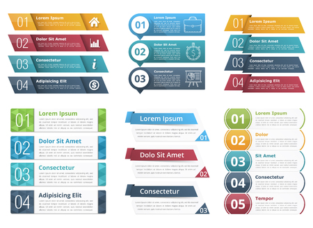 three colors: Infographic templates with numbers and text, business infographics elements set