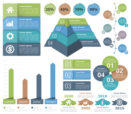 Infographic design elements - flowchart, bar graph, pyramid chart, process diagram, progress indicators, timeline, circle diagram, objects with numbers and text Vettoriali