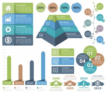 Infographic design elementen - flowchart, staafdiagram, piramidegrafiek, processchema, voortgangsindicatoren, tijdlijn, cirkel diagram, objecten met nummers en teksten Vector Illustratie