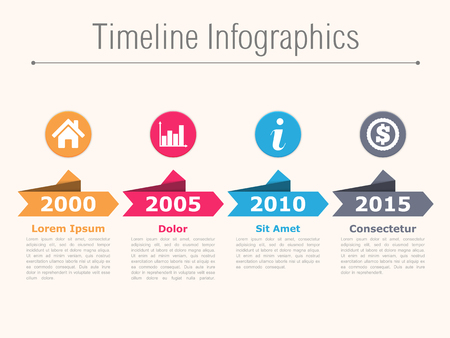 bar graph: Timeline infographics with arrows icons and text
