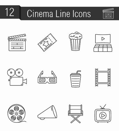 board of director: Set of 12 cinema thin line icons - clapper board, ticket, popcorn, drinks, hall, video camera, glasses, film reel, megaphone, director, film, home video