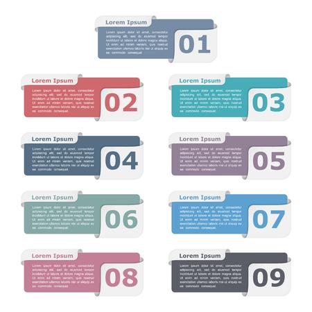 diagrama procesos: Conjunto de nueve elementos de diseño con los números y el texto