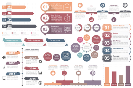 Infographic elements - bar graphs, timelines, circle diagram, flowchart, objects with percents, numbers, text and icons, business infographics