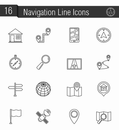 navigation icons: 16 Navigation line icons Illustration