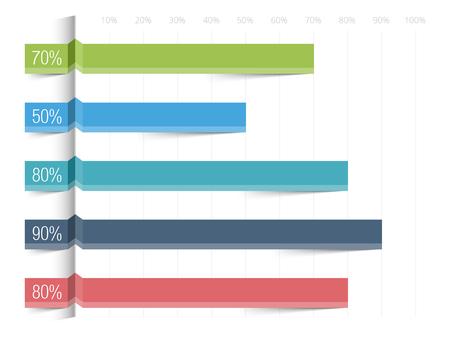 パーセントの水平バー グラフ テンプレート  イラスト・ベクター素材