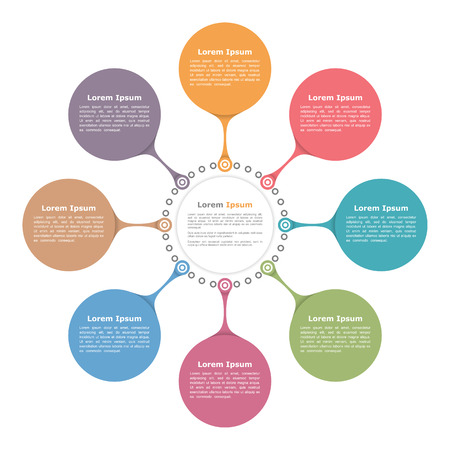 six web website: Circle flow diagram template with eight elements