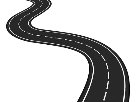 La carretera de asfalto en el fondo blanco Ilustración de vector