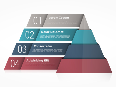 four objects: Pyramid chart with four elements Illustration