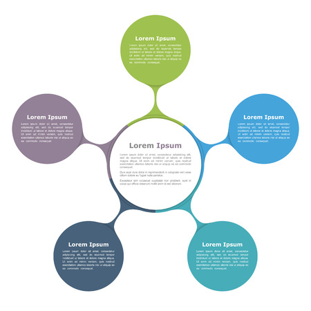 Circle diagram with five elements, infographic template Vettoriali