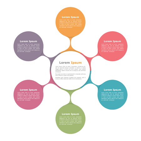 six web website: Circle diagram with six elements, infographic template