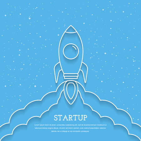 aerodynamics: Rocket launch, business project startup ccncept, minimal line style, blue background