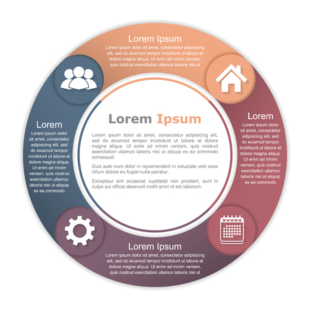 four elements: Circle diagram with four elements with icons and text Illustration