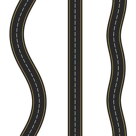 coarse: Three vertical seamless roads on white background