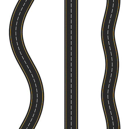 Three vertical seamless roads on white background
