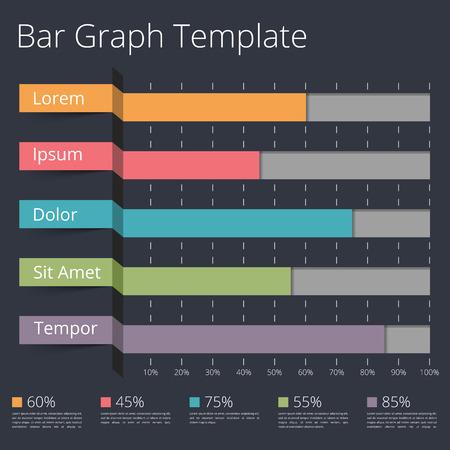horizontal bar: Horizontal bar chart template, business infographics
