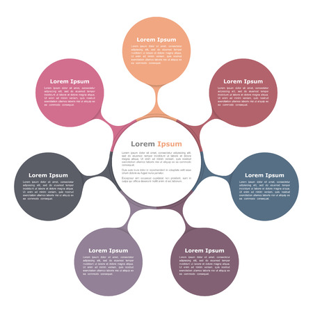 Circle flow chart with seven elements, infographic template