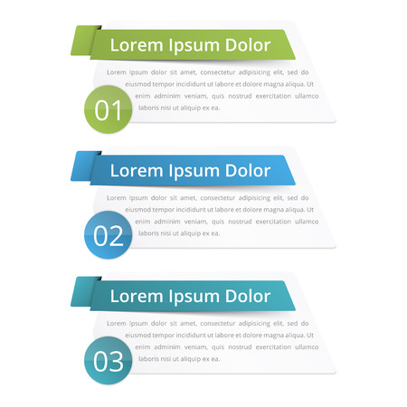 Infographics design elements with place for numbers (steps or options) titles and text Ilustracje wektorowe