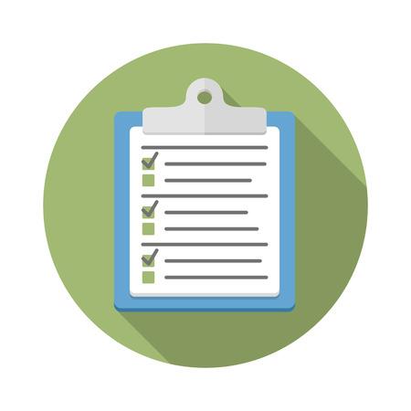Umfrage oder Testkonzept, Zwischenablage mit Dokumenten mit Kontrollkästchen und Bleistift, flaches Design