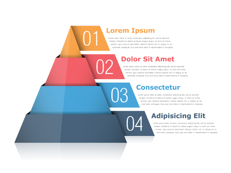 Pyramid chart with four elements with numbers and text, pyramid infographic template