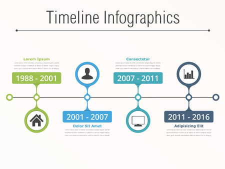 Horionztal timeline infographics template with dates, icons and text
