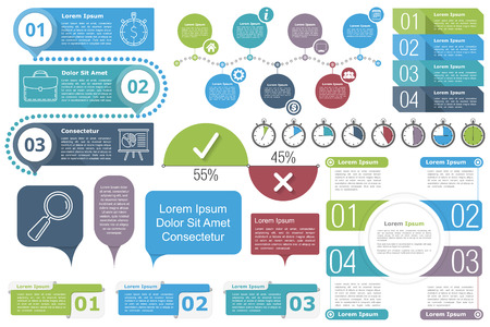 Infographic elements - Timeline, objects with text and numbers or steps or options, timers, circle diagram, percents chart