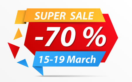 best ad: Super sale banner with 70% discount Illustration