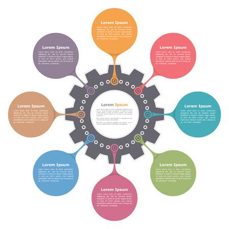 infografía de círculo con el engranaje, plantilla de diagrama de ronda