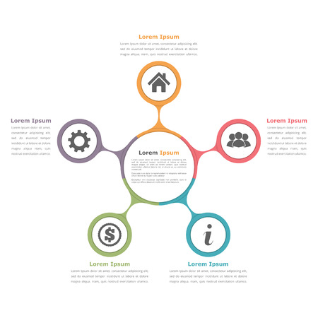 hub: Circle diagram with five elements with icons and text, flow chart template, business infographics