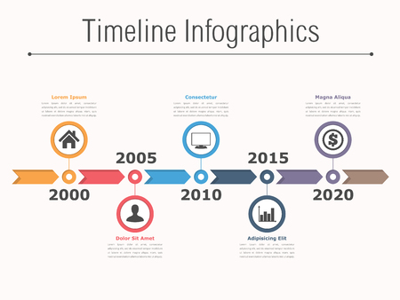horizontal: Timeline infographics design with arrows, workflow or process diagram, flowchart