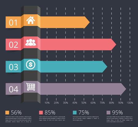 Gráfico de barras horizontal con números e iconos, plantilla de infografía de negocios