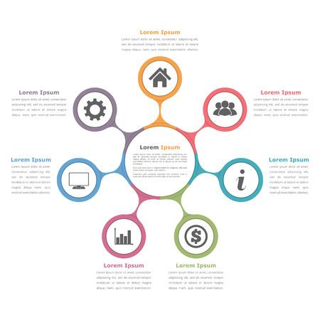 Diagrama del círculo con siete elementos con iconos y texto, plantilla de diagrama de flujo, la infografía de negocio