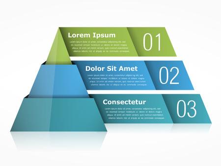3 つの要素を持つピラミッド型図表  イラスト・ベクター素材