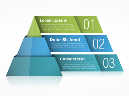 three colors: Pyramid chart with three elements