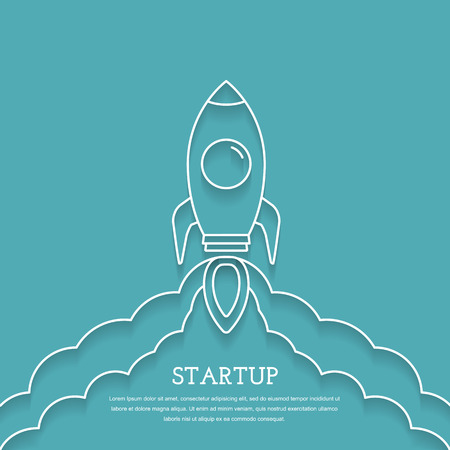 Raketenstart, Business-Projekt Startup-Konzept Vektorgrafik