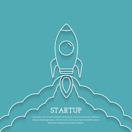 Rocket launch, business project startup concept Vetores