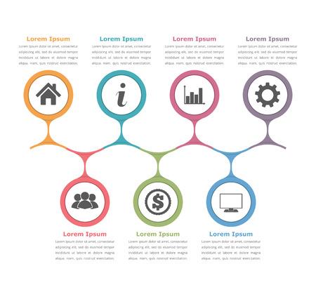 Flussdiagramm-Vorlage mit Symbolen und Text, Prozessdiagramm, Business-Infografiken
