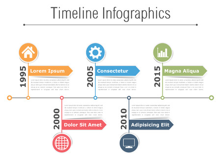 Timeline infographics design with arrows, workflow or process diagram, flowchart