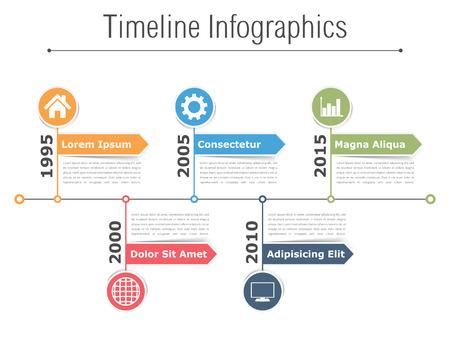 Timeline infographics ontwerp met pijlen, workflow of processchema, flowchart Stock Illustratie