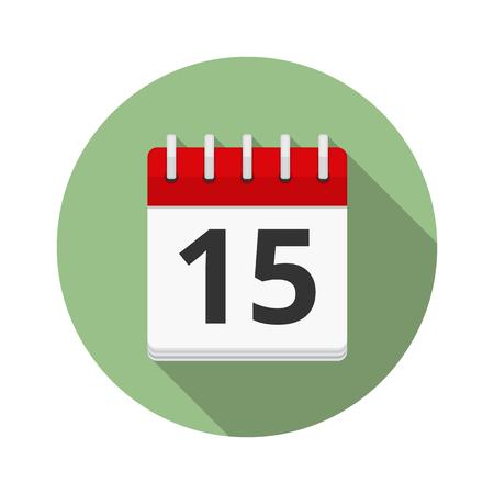 Calendar icon in circle, flat design, long shadow