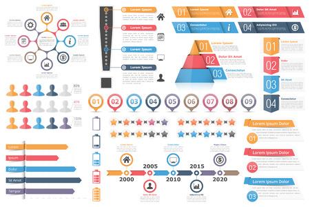 Infografische elementen instellen - cirkeldiagram, uitroepteken, tekstvakken met cijfers en pictogrammen, piramidekaart, staafdiagram, tijdlijn, beoordelingssterren en andere infografische objecten, vector eps10 illustratie