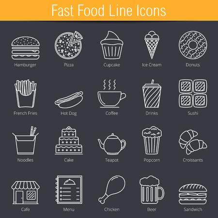 fried noodle: Set of 20 fast food line icons Illustration
