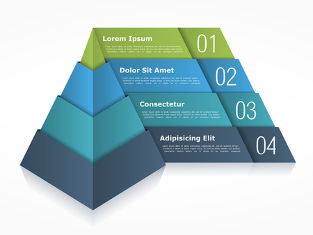 four elements: Pyramid chart with four elements Illustration
