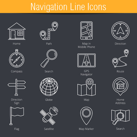 navigation icons: 16 Navigation and location line icons