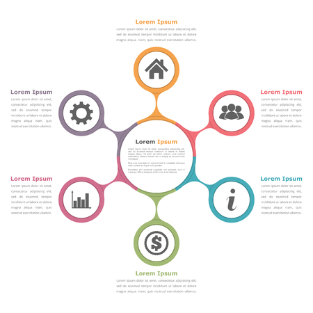 Circle diagram with six elements with icons and text, flow chart template, business infographics