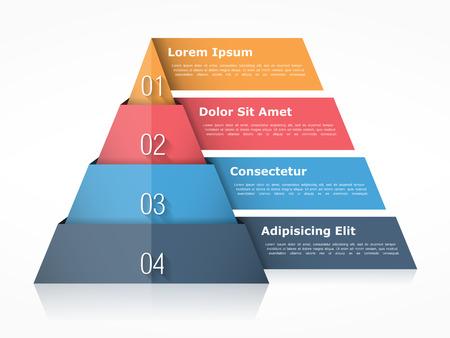 Piramide grafiek met vier elementen met cijfers en tekst, piramide infographic sjabloon, piramide diagram voor presentaties