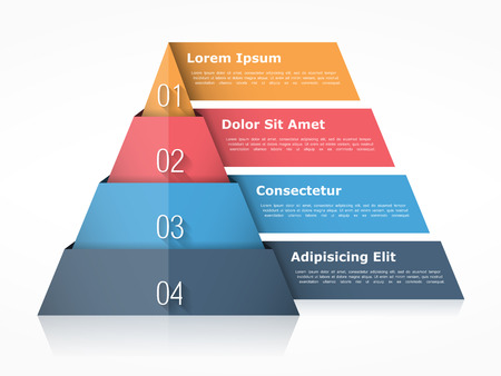 four elements: Pyramid chart with four elements with numbers and text, pyramid infographic template, pyramid diagram for presentations