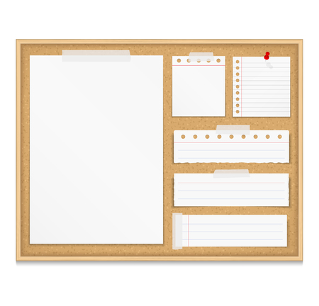 corkboard: Bulletin board with paper attached by tape and push pin, corkboard with paper notes