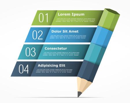 Infografía plantilla con elementos de lápiz y cuatro para texto, infografía educación