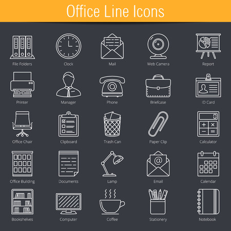 line: 25 office line icons Illustration