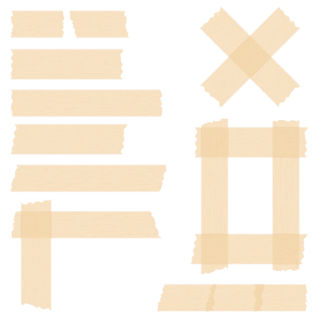 tear duct: Pieces of transparent adhesive tape on white background, sticky tape